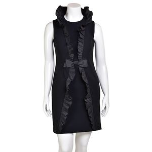 Teri Jon Black Ruffle Cocktail Dress